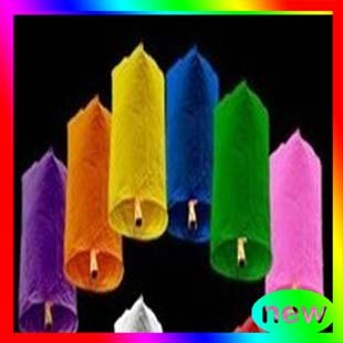 Ems shipping New Style 100pcs/lot Cylindrical Shape Mix Color Wishing Sky Lanterns For Best Wedding Gift