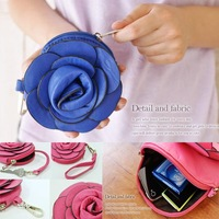 Wholesale (5piece/lot )Stereo Camellia Flower Inclined & Coin leather Purse wallet for Girls/Ladies with belt  FW0003