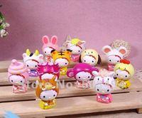 Free shipping Fashion NEW 12pcs Chinese Zodiac Hello Kitty PVC Figure Doll 20/LOT EMS/DHL Free Shipping