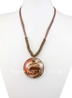 1pcs Baroque style Wholesale mix Fashion handmade gold dust Art Round beads Lampwork murano glass beaded pendant necklce jewelry