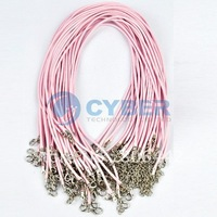 Free Shipping New 50pcs Fashion Pink Nylon Necklace Cord Waxed String Cord Connector For Necklace