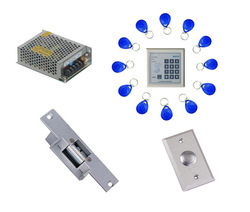 Free shipping ,access control kit ,one EM keypad access control +power+Electric Strike Lock+exit button +10 em key fob,sn:em-009(China (Mainland))