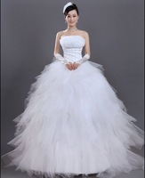 Women's Sweet Off The Shoulder Solid Satin Floor-Length Ball Gown Wedding Dress - 10000800