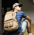 New Arrival! Cool Men's Brown Canvas School Backpack Shoulder Bag-9716