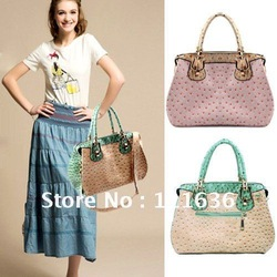 Fashion Free Shipping 1pcs/lot Korean Women Ostrich Pattern Tote Shoulder Messenger Bags Handbag, Leather Handbags BG184(China (Mainland))
