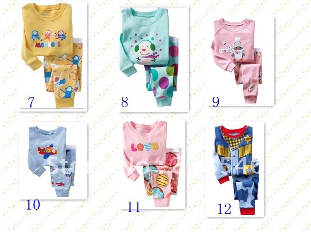 FREE SHIPPING 6sets/ lot 100% cotton baby wear kids pajamas baby pajamas baby sleeping wear nightwear(China (Mainland))