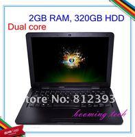 13.3 inch Intel Atom D2500 super slim dual core HDD wifi notebook laptop computer dhl free