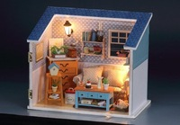 LED Light Small Dollhouse warm living room miniatures with cover  scene