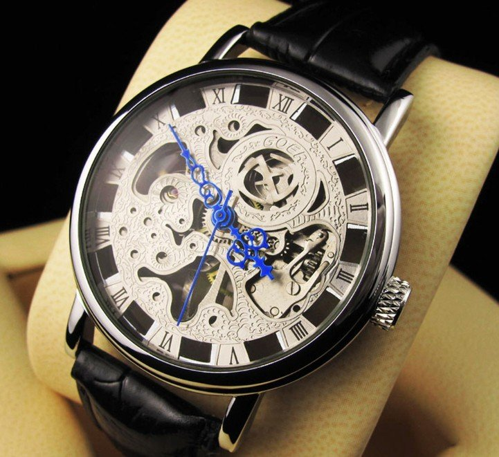 Hot! Free shipping(5 pcs/lot) New Design Silver hollow mechanical watches, Mechanical Mens Multi Function Watch(China (Mainland))