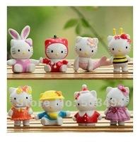 Free Shipping Hello kitty PVC Figure Set Figure Model Doll 8PCS X-MAS Gifts