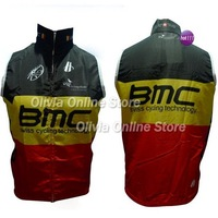 2012 BMC black yellow and red Swiss cycling technology Bicycle sleeveless Jacket / Only Cycling windbreaker
