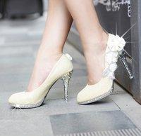 Free Shipping Women Flower High Heels Glitter Rhinestone Pumps Bowtie Platform Pumps Thin Heel Shoes Sexy Party Stilettos 3361-1