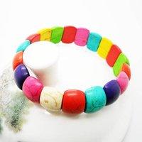 Hot sale mutil color nature turquiose bracelet fashion jewelry elastic bracelet 12pcs/lot free ship