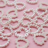 [wholesale:1000pcs/lot] Free shipping white 11mm imitation heart shape flatback pearls nail cellphone laptop art