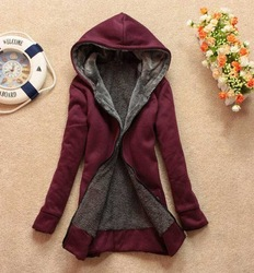 New Winter 6 Colors Women Slim Cotton and Faux Fur Hoodie Jacket Coat Outerwear Top Clothes E103(China (Mainland))