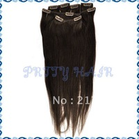 Wholesale 20inch 3sets/Lot, Clip in Straight Brazilian Remy Human Hair Extensions, Color#4,7185