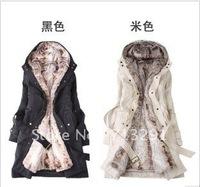 Free shipping Faux fur lining women's fur coats winter warm long coat jacket clothes