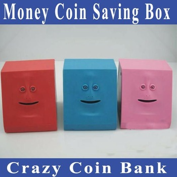 Free shipping Face Bank Money Coin Saving Box/Crazy coin bank ideal gift for birthday, Christmas