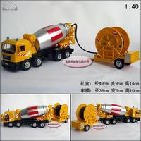 10 wheel double cement mixer truck alloy car model