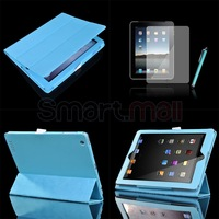 New  Light Blue Slim Magnetic PU Leather Wake/ Sleep Stand Smart Cover Case For new iPad 3/ 2+Pen, Wholesale