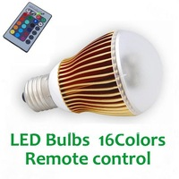 Free shipping: 3W LED RGB Bulb with remote control and 85 to 265V AC Working Voltages