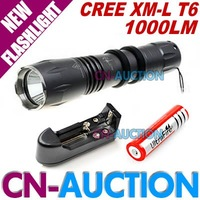 Sky Ray S-R5 Flashlight 5 Mode 1000LM CREE XM-L T6 LED Flashlight Torch+18650 3.7V Battery+Charger (CN-CLF07) [CN-Auction]