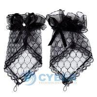 Free shipping 10pairs/Lot Fashion Wedding Satin Lace Beads Fingerless Bridal Gloves Beige