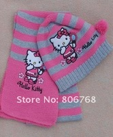 Hot Sell new fashion children knitted hat hello Kitty cap + scarf suit girls knit set