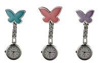 12pcs/lot Free shipping butterfly style nurse watch medical watch doctor watch ladies steel gift watch pocket watch new battery
