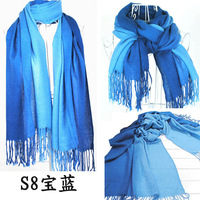 2012 gradient color tassel scarf autumn and winter ultra long cape dual faux black red
