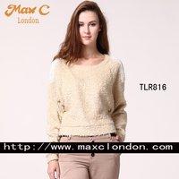 Fashion solid  ladies smart beades  sweater