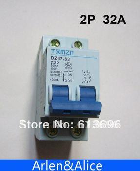 2P 32A 400V~ 50HZ/60HZ Circuit breaker AC MCB safety breaker