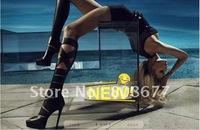 Free Shipping Newest Designer Brand Genuine Leather Open-toe High Heels Women Summer Boots,Fashion Platform Boots