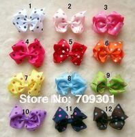 """3.8""""  Dot design Ribbon Hair Bows gilrs hair bows ribbon bows  12 Colors U Pick 100 Pcs Free Shipping"""