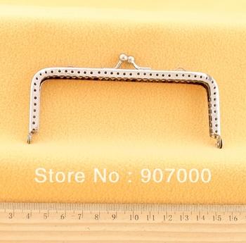 Big sale! 12cm simple design silver handbag frame,square silver coin purse DIY accessory,double side rings, 20pcs,