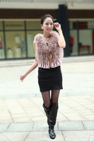 Hotsale: factory direct   Genuine Turkey  Fur  vest /lady Waistcoat with lace  / Topsale/ Drop sale /Factory direct sale