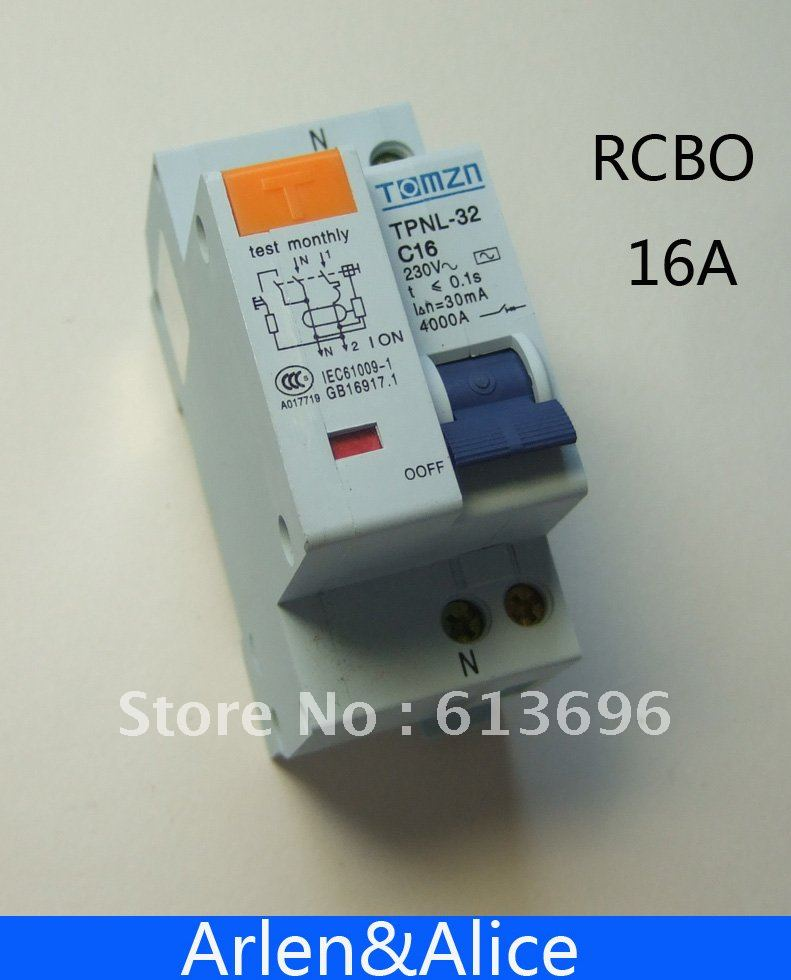 DPNL 1P+N 16A 230V~ 50HZ/60HZ Residual current Circuit breaker with over current protection RCBO(China (Mainland))