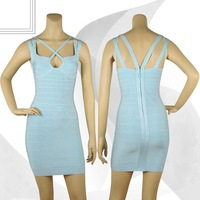 Free Shipping Top Quality Knitted Bandage Dress H264 Light Blue Women Sexy Designer Dress