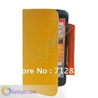 LITCHI SKIN WALLET CARD POUCH LEATHER CASE COVER FOR HTC ONE X