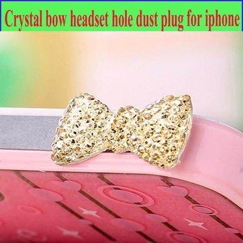 50pcs/lot fashion Crystal bow cell phone earphone hole anti dust plug / universal headset jack anti-dust plug for iphone 4s