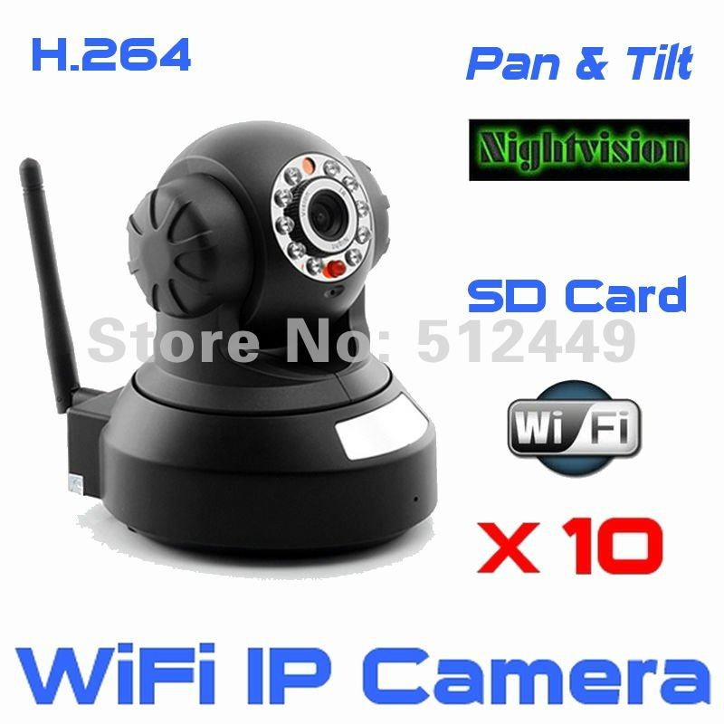 Wholesale 10pcs/lot H.264 WiFi IP Camera with IR-cut SD card slot Remote P&amp;T IR nightvision smartphone view 81-ch super software(China (Mainland))