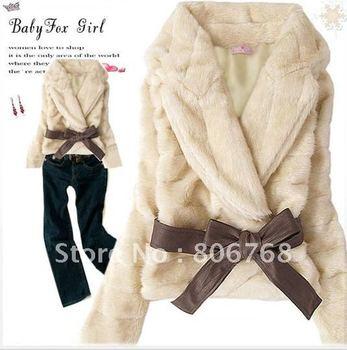 New Short Coat Women's Korean Style Outwear Belted Faux Fur Rabbit Hair