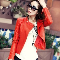 Women's Leather Jacket Outerwear Short design Slim Sweet Elegant  PU  Leather Clothing