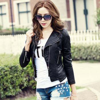 Fashion outerwear short design slim motorcycle turn-down collar PU  leather clothing women's jacket