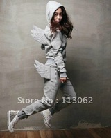 free shipping new women&#39;s men&#39;s hoodies suit sports angel wing plus size thicken fleece hoodies sweatshirts set(hoodie+pant)