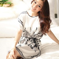 Free shipping, Core butterfly sexy nightgown faux silk Women summer temptation short skirt lounge sleep set