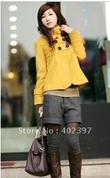 Popular autumn&winter woman's Long sleeve whosaler coat jacket clothes,5 colors,red,pink and gray  size free shipping
