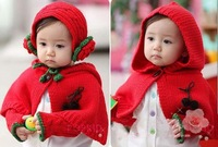 hot sale ! One Piece Retail Baby  Hat +Scarf+ Cloak 3pcs/set  Kids Headdress Kids Clothes  Accessories Solid  Baby Cap