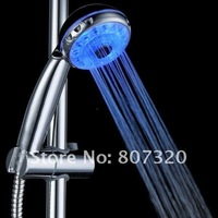 Adjustable 3 Mode LED Shower Head Sprinkler Temperature Sensor RGB Color free ship