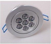 CREE chips 7-LEDS 90~265V 7W Ceiling Light warm white/White light 700LM led downlight lamp ,free shipping
